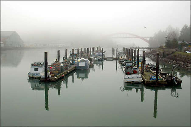 Swinomish Tribe fishing boats sit at the reservation dock on a foggy morning. Most have been converted for winter crab fishing, their gillnets in storage. Photo: Grant M. Haller/Seattle Post-Intelligencer
