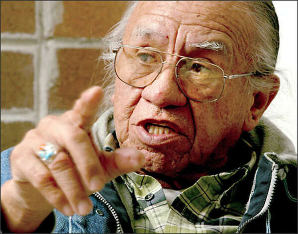 "Billy Frank Jr., the Nisqually Indian elder who rose to prominence during the fish wars, says: ""It's not about fighting over fish or numbers anymore. That kind of fighting is done."" Photo: Grant M. Haller/Seattle Post-Intelligencer"