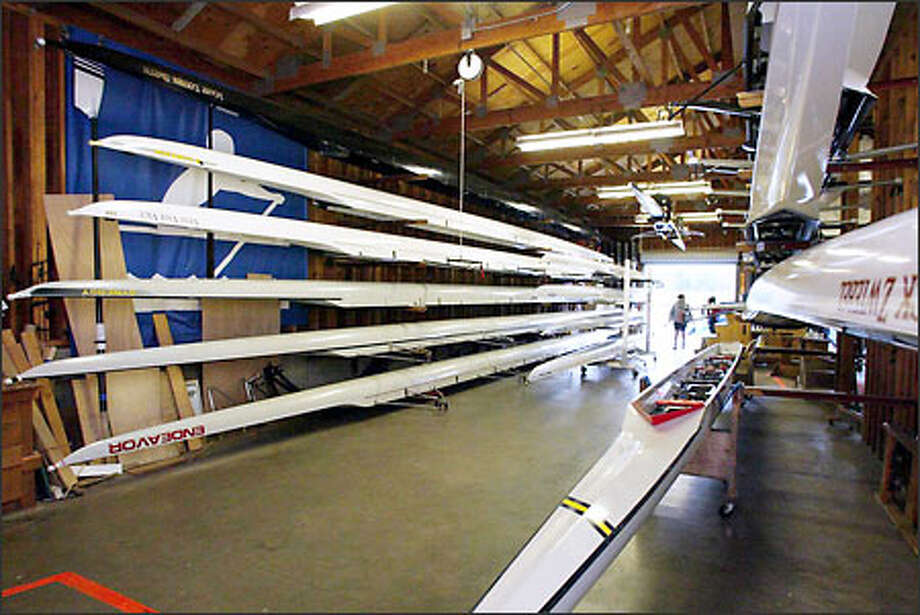 Rowing shells line the crew house at Mount Baker Rowing and Sailing Center. Students from 31 high schools use the aging center, at the Stan Sayres hydroplane pits on Lake Washington. Photo: Gilbert W. Arias/Seattle Post-Intelligencer