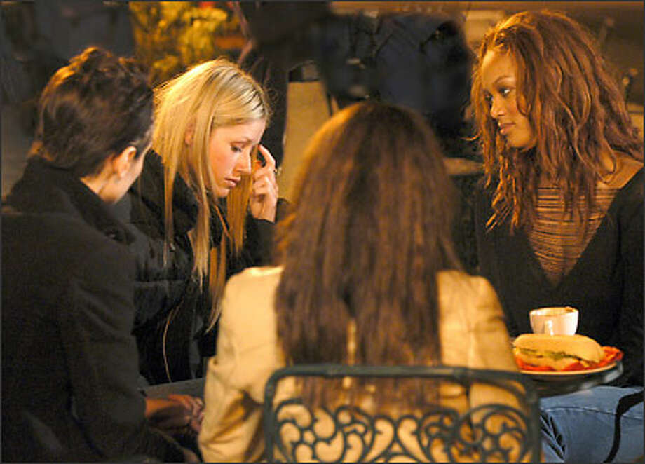 Tyra Banks, right, tries to comfort Shandi after she admits to cheating on her boyfriend. Photo: / UPN