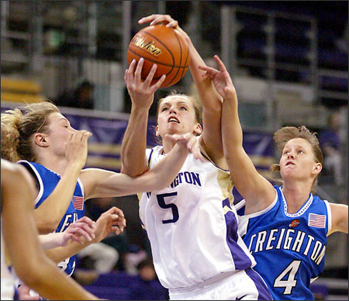 UW forward Andrea Lalum had 18 points in the first half but was limited to five points in the second half.
