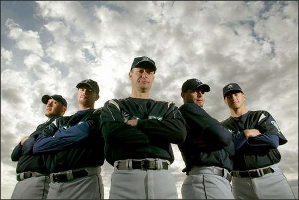 The Mariners rotation, from left, Freddy Garcia, Ryan Franklin, Jamie Moyer, Joel Pineiro and Gil Meche, combined for a 75-58 record last season when none missed a starting assignment.