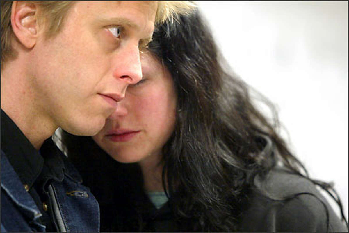 Steve Moriarty, drummer for The Gits, and Emily Marsh, after the guilty verdict.