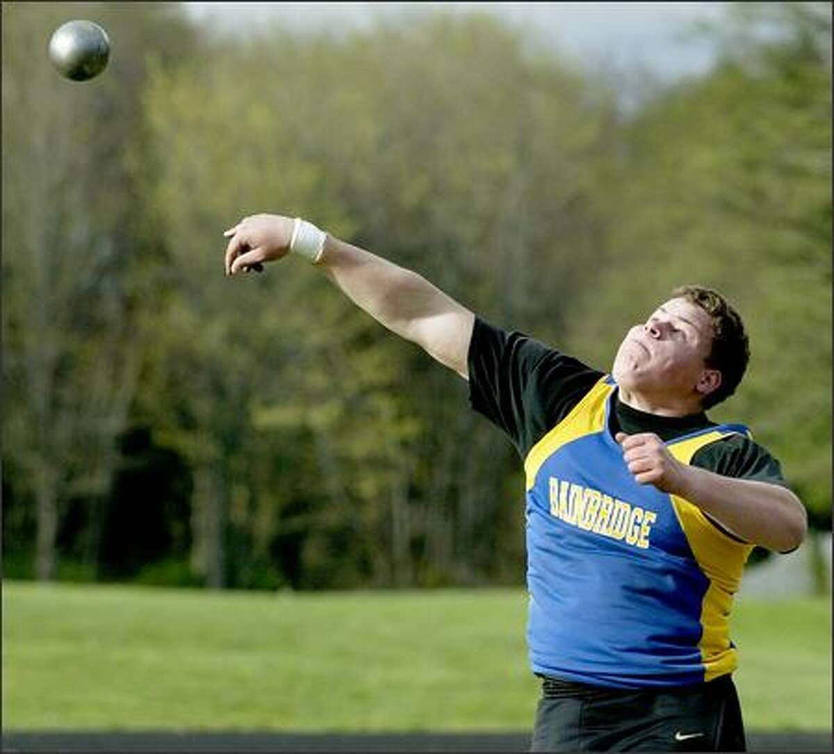 Bainbridge senior Matt Wauters recently exceeded 64 feet in the shot put, leaving him more than 5 feet short of Vince Goldsmith's state record.