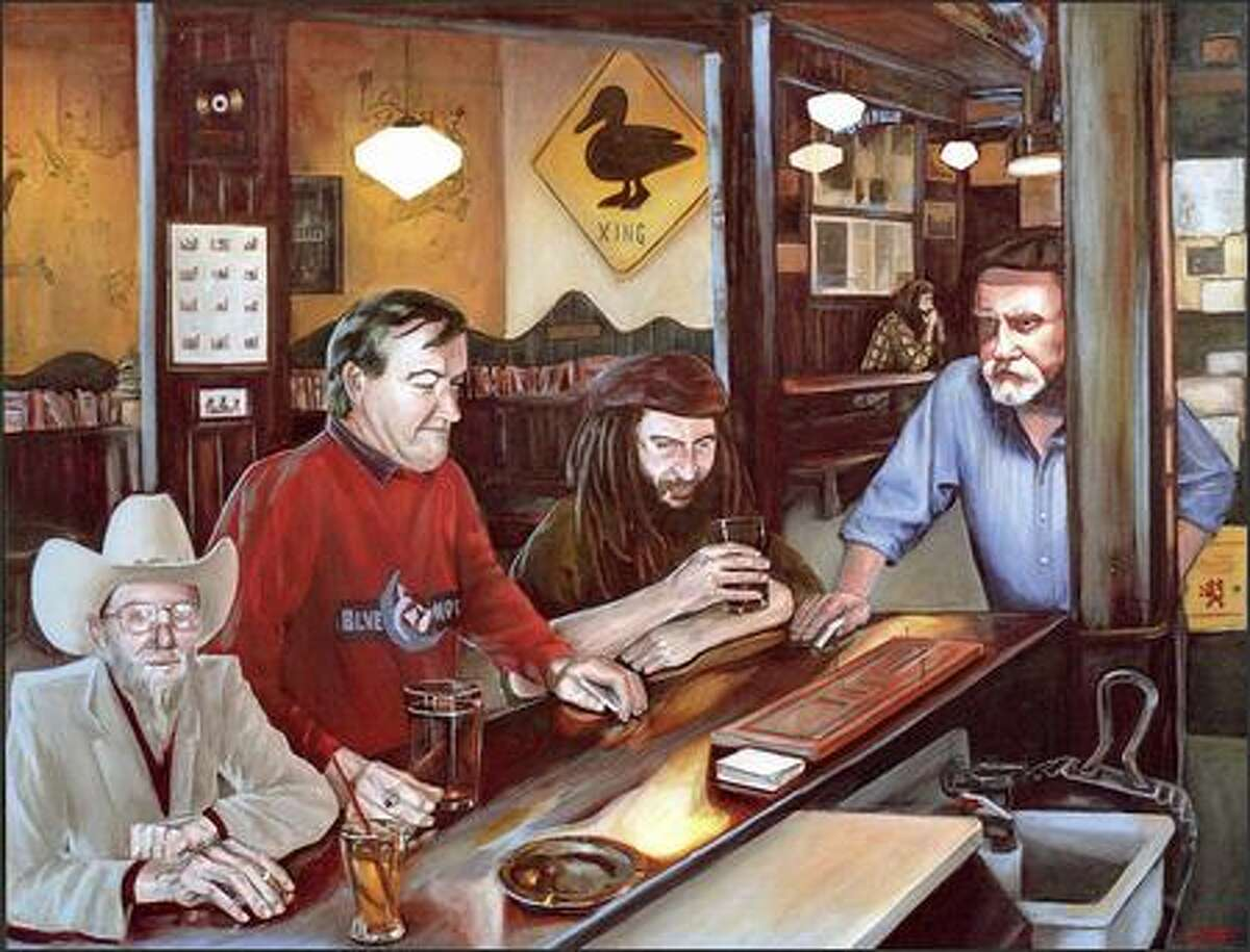 """This painting by Blue Moon bartender Mary McIntyre depicts Blue Moon regulars John Huston in cowboy hat, owner Gus Hellthaler in a red sweatshirt, Matt Taylor with dreadlocks, and Andy King. Pitchers are mandatory for """"Raccoon Lodge"""" members inside the tavern, and arguments are strongly encouraged."""