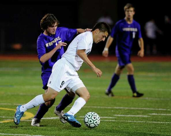 Norwalk's Andres Torres takes control of the ball during Tuesday's boys soccer game against Westhill at Testa Field in Norwalk on September 14, 2010. Photo: Lindsay Niegelberg, ST / Connecticut Post