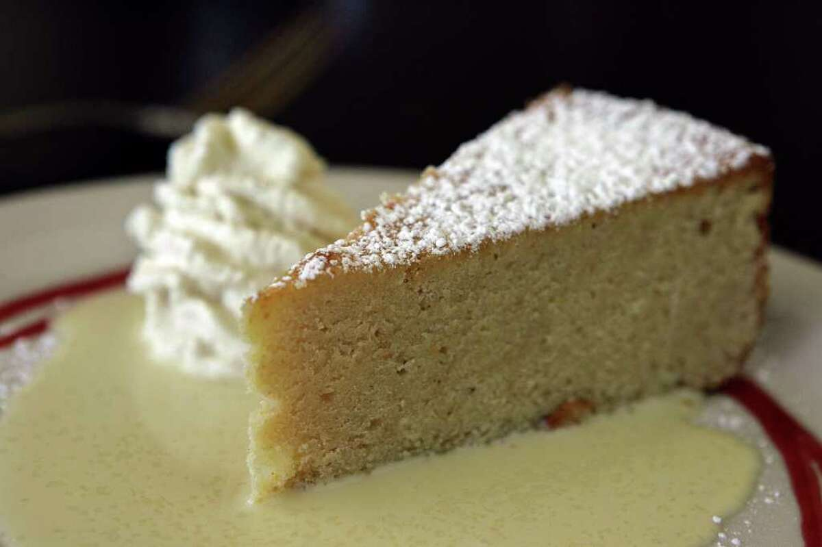 Dough's Polenta Cake gets its char from a quick finish in a wood-fired oven.