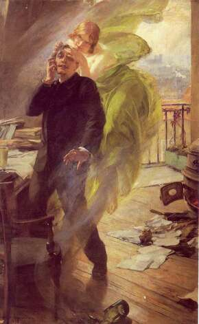 "Albert Maignan's painting of ""Green Muse"" (1895) shows a poet succumbing to absinthe's mind-altering effects. Courtesy of the Musée de Picardie, Amiens. Photo: Courtesy Of The Musée De Picardie;Amiens/Contributed Photo, Contributed Photo / Greenwich Citizen"