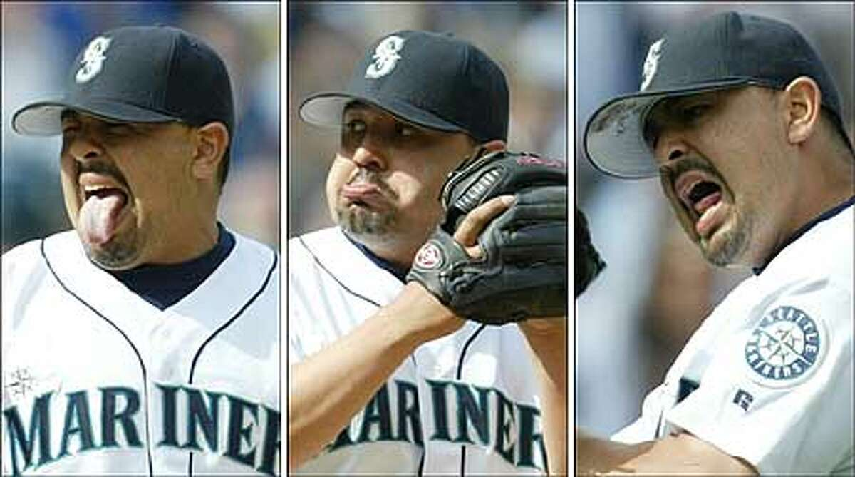 The three faces of Eddie: Mariners closer Eddie Guardado isn't afraid to express himself on the mound. He pitched a perfect ninth yesterday.