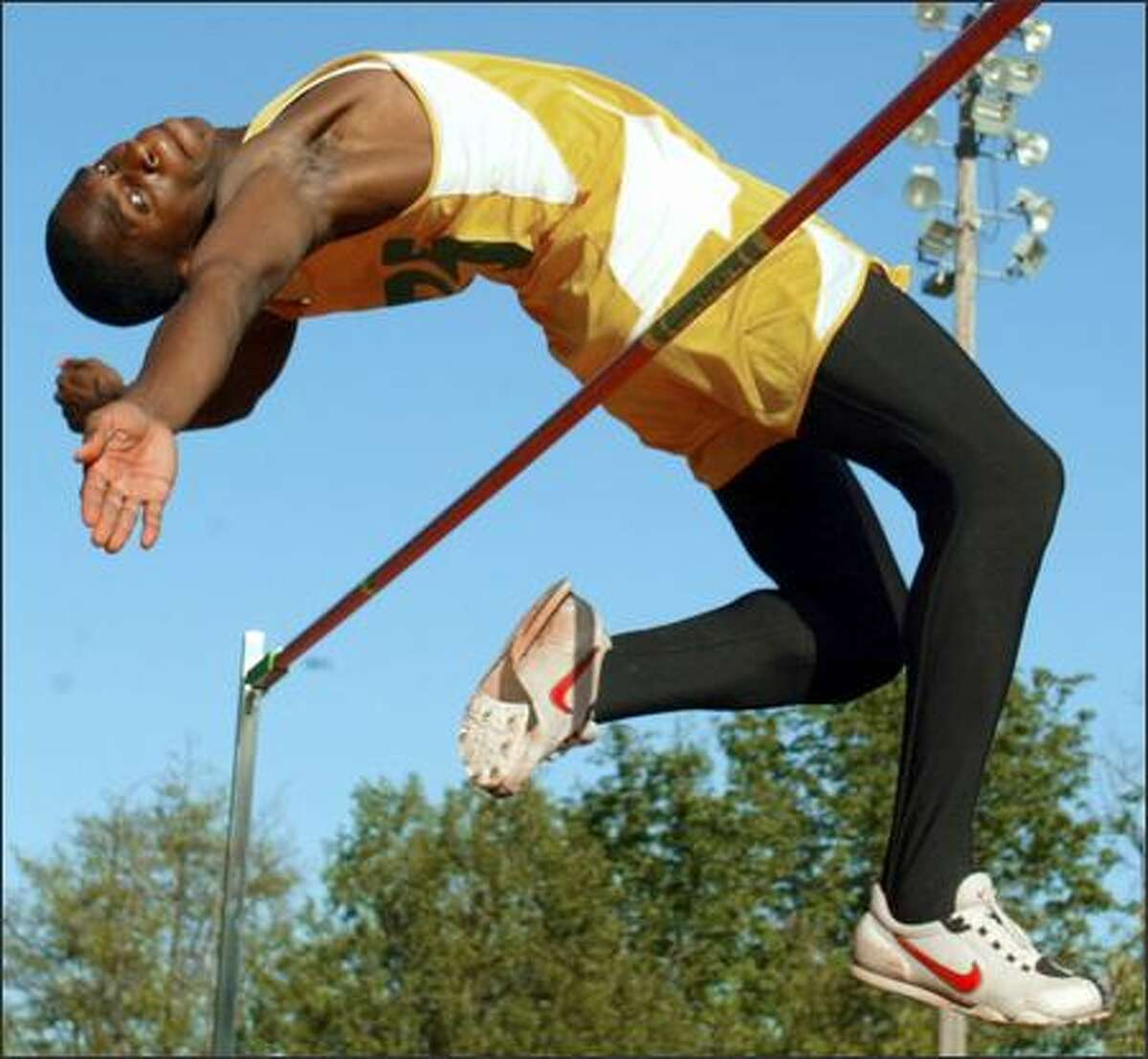 Roosevelt's Norris Frederick is the only prep athlete in the state to clear 7 feet in the high jump and to long jump 24 feet. With each new mark, the UW-bound senior sets his goals a little higher and a little farther out. Not only does he hope to defend his state titles in the high jump and long jump, he hopes to add another in the triple jump, his newest event.