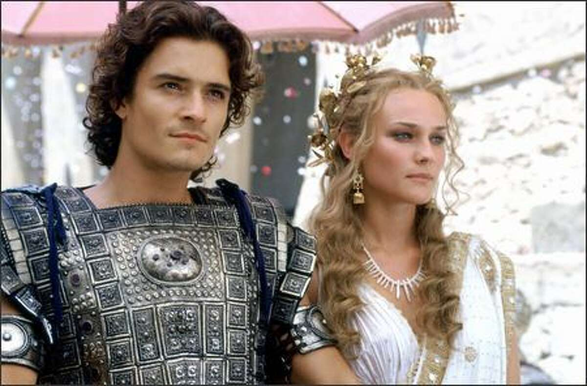 """Paris (Orlando Bloom) steals the beautiful Helen (Diane Kruger) away from her husband in """"Troy,"""" the film version of Homer's great epic, the """"Iliad."""" The film, which opens May 14, also stars Brad Pitt."""
