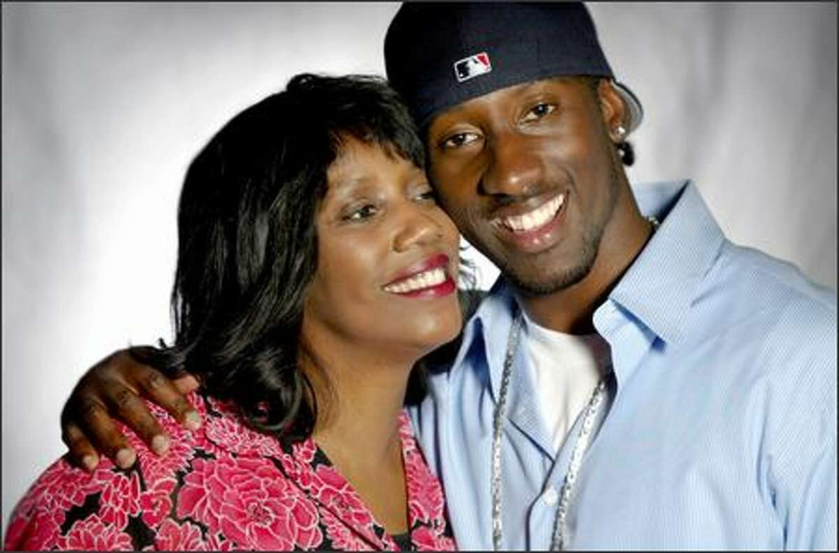 Seattle Seahawks cornerback Marcus Trufant and his mother Constance.