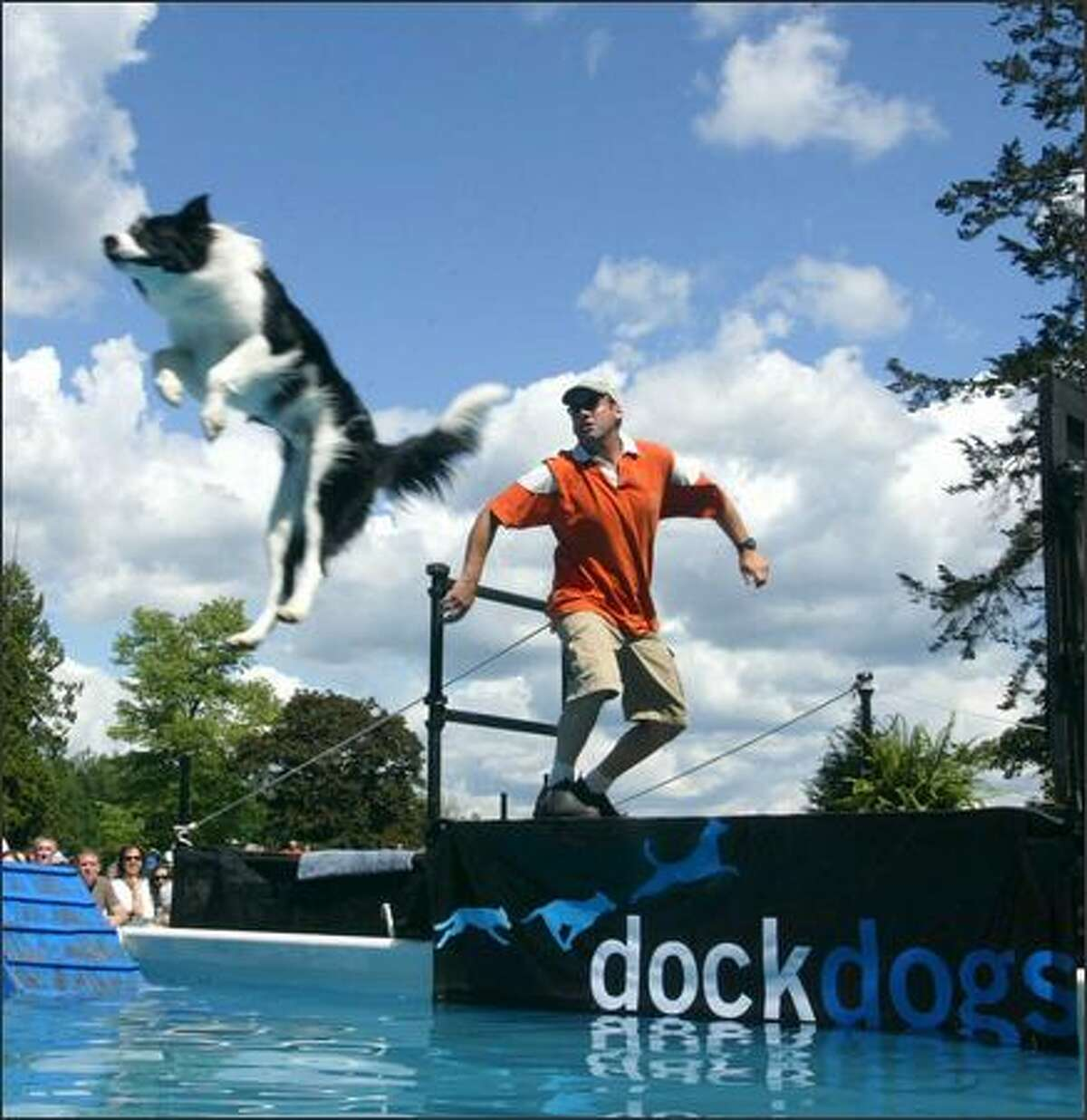 """Gabe, a border collie from Dayton, Nev., flies through the air on command from his owner, Todd Bobula, during the """"Big Air"""" finals."""