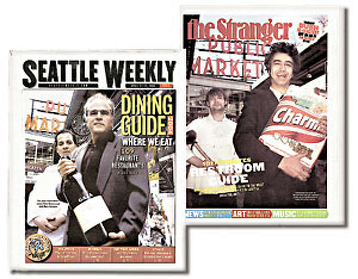 Seattle Weekly (pictured here with The Stranger's parody of their dining guide) is reportedly ceasing publication this Wednesday.