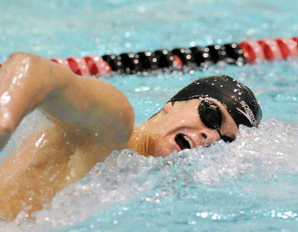 Andrew Dillinger of Greenwich High School swims in the final of the 200 yard freestyle event during the CIAC Boys Class LL State Open swimming championships at Wesleyan University, Middletown, Conn., Tuesday night, March 15, 2011.