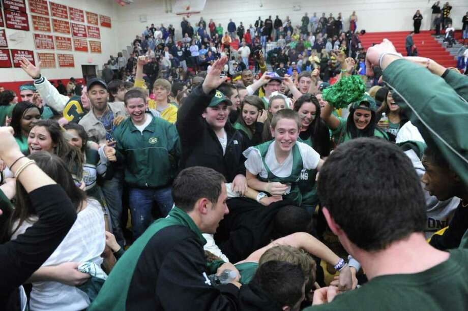 Trinity Catholic faces Notre Dame-Fairfield in the Class M semifinals at Masuk High School in Monroe, Conn., March 15, 2011. Trinity won in overtime, 62-59. Photo: Keelin Daly / Stamford Advocate