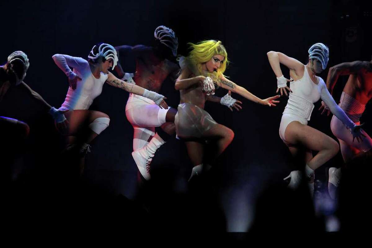 Lady Gaga performs 'Love Game' at the AT&T Center on March 15.