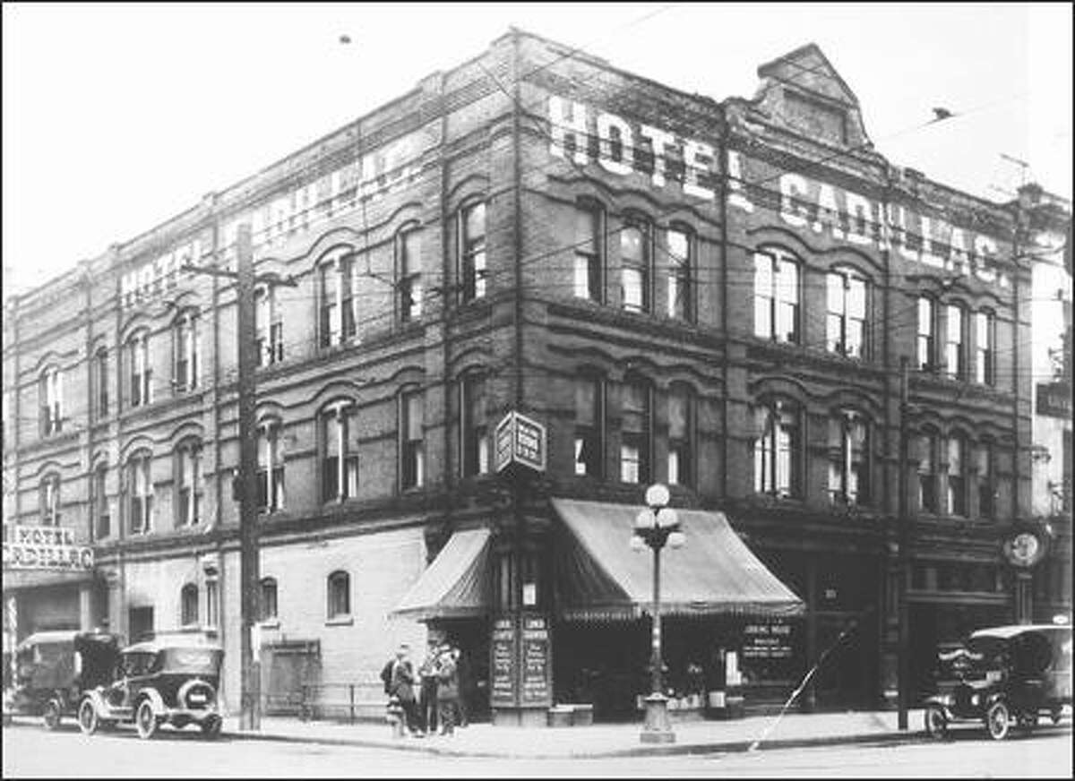 The Cadillac Hotel - shown here in 1918 - was built in 1889, and is one of the oldest buildings in Seattle as it was constructed on the ashes of the Great Seattle Fire. Some rumor sights of apparitions in the top floors, ghostly presence in the elevator and a woman and child crying throughout the night. Legend goes she was