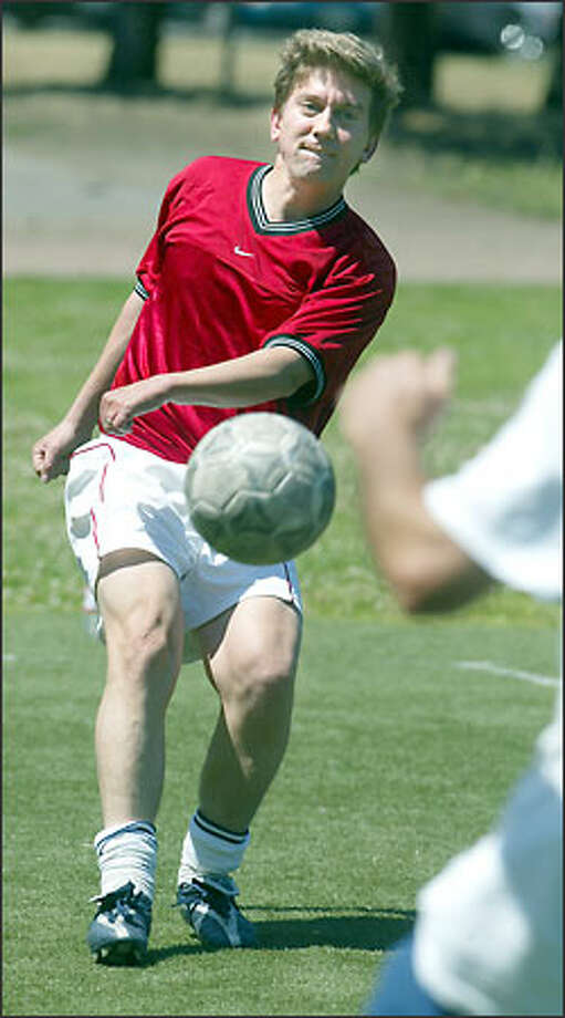Mike Vaska, a Republican candidate for state attorney general, plays soccer not only to stay in shape, but also to stay connected to his family's Russian immigrant roots. He plays weekly in a pickup game in the Queen Anne Bowl. Photo: Paul Joseph Brown/Seattle Post-Intelligencer