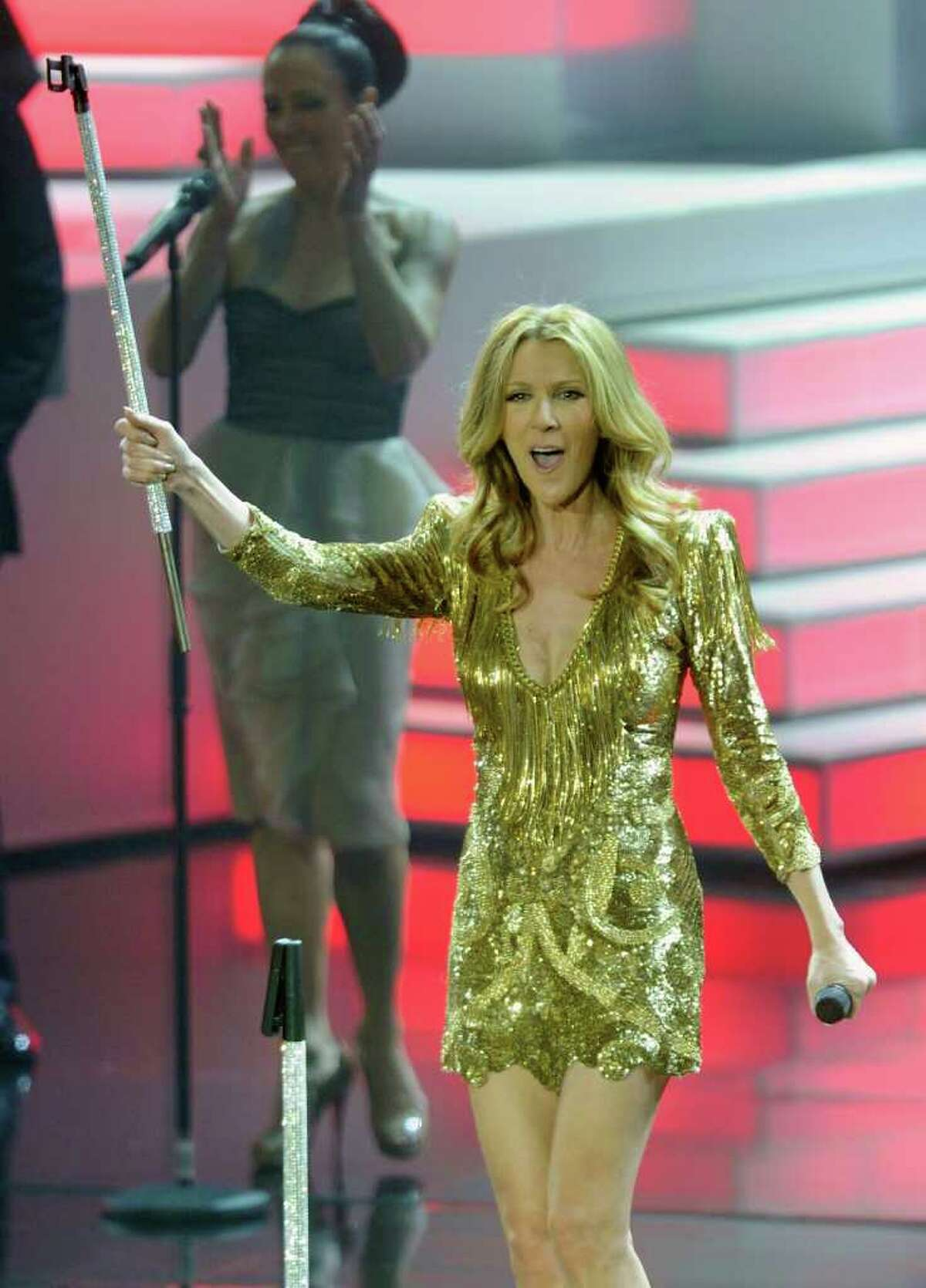 Singer Celine Dion performs during the first night of her new show at The Colosseum at Caesars Palace. (Photo by Ethan Miller/Getty Images)