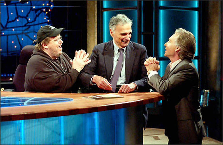 """Talk show host Bill Maher, right, and """"Fahrenheit 9/11"""" director Michael Moore, left, beg Ralph Nader to drop out of the 2004 presidential race during a recent telecast. Photo: / Associated Press"""
