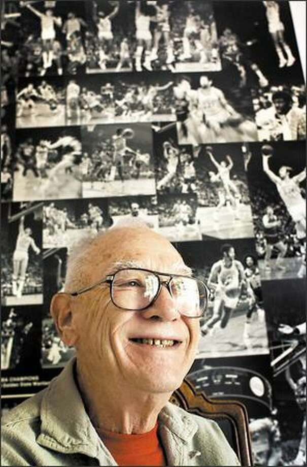 Dick Vertlieb retains a poster of the 1974 NBA champion Golden State Warriors, of whom he was general manager. Photo: Isaac Brekken/Special To The Post-Intelligencer