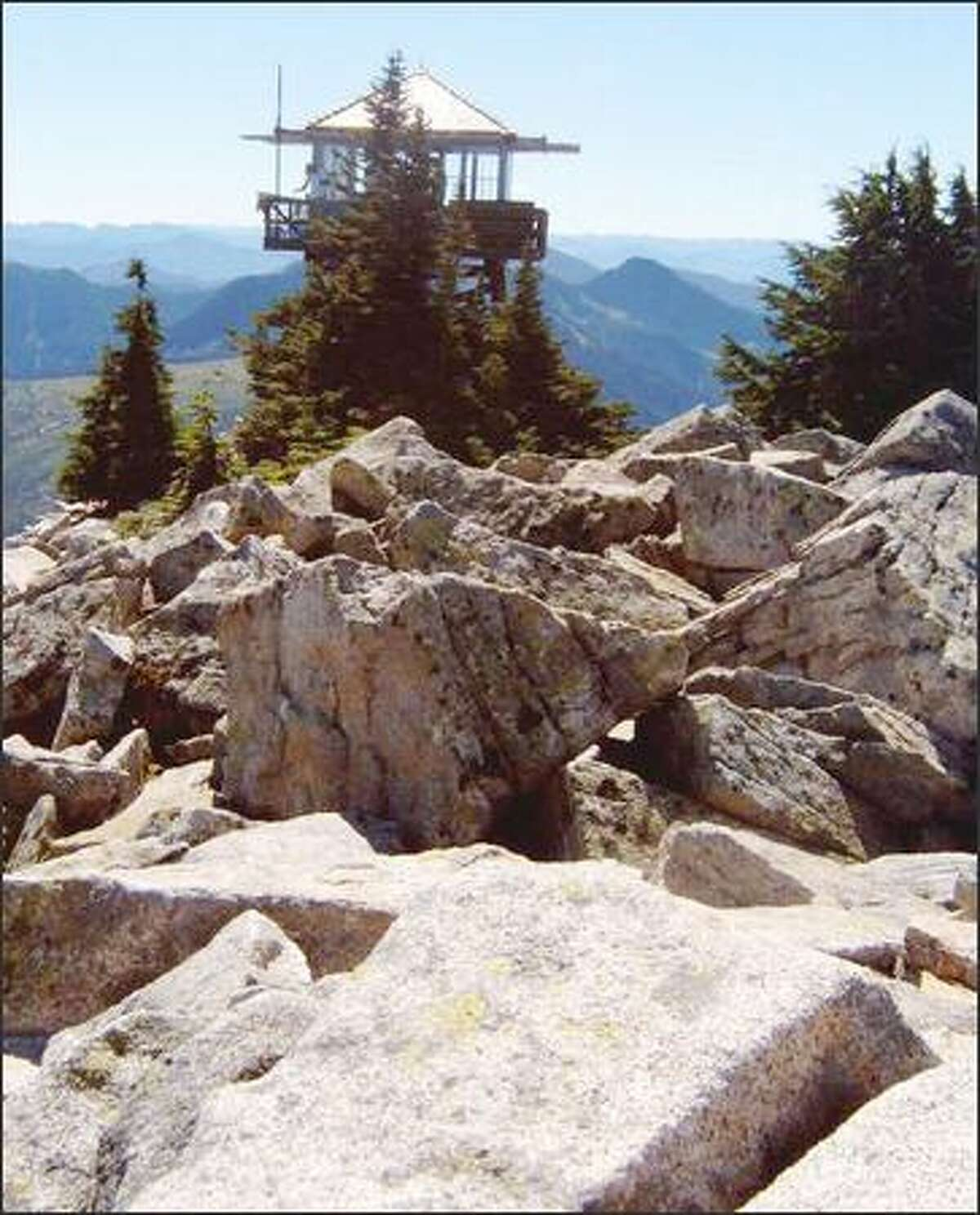 The top of Granite Mountain in the summer.