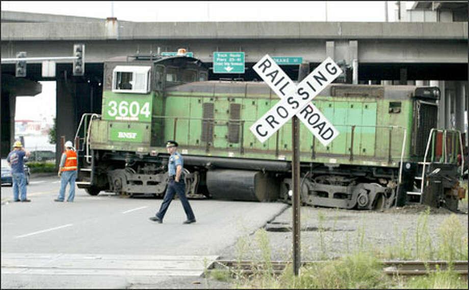The derailed train blocked East Marginal Way. Photo: Meryl Schenker/Seattle Post-Intelligencer