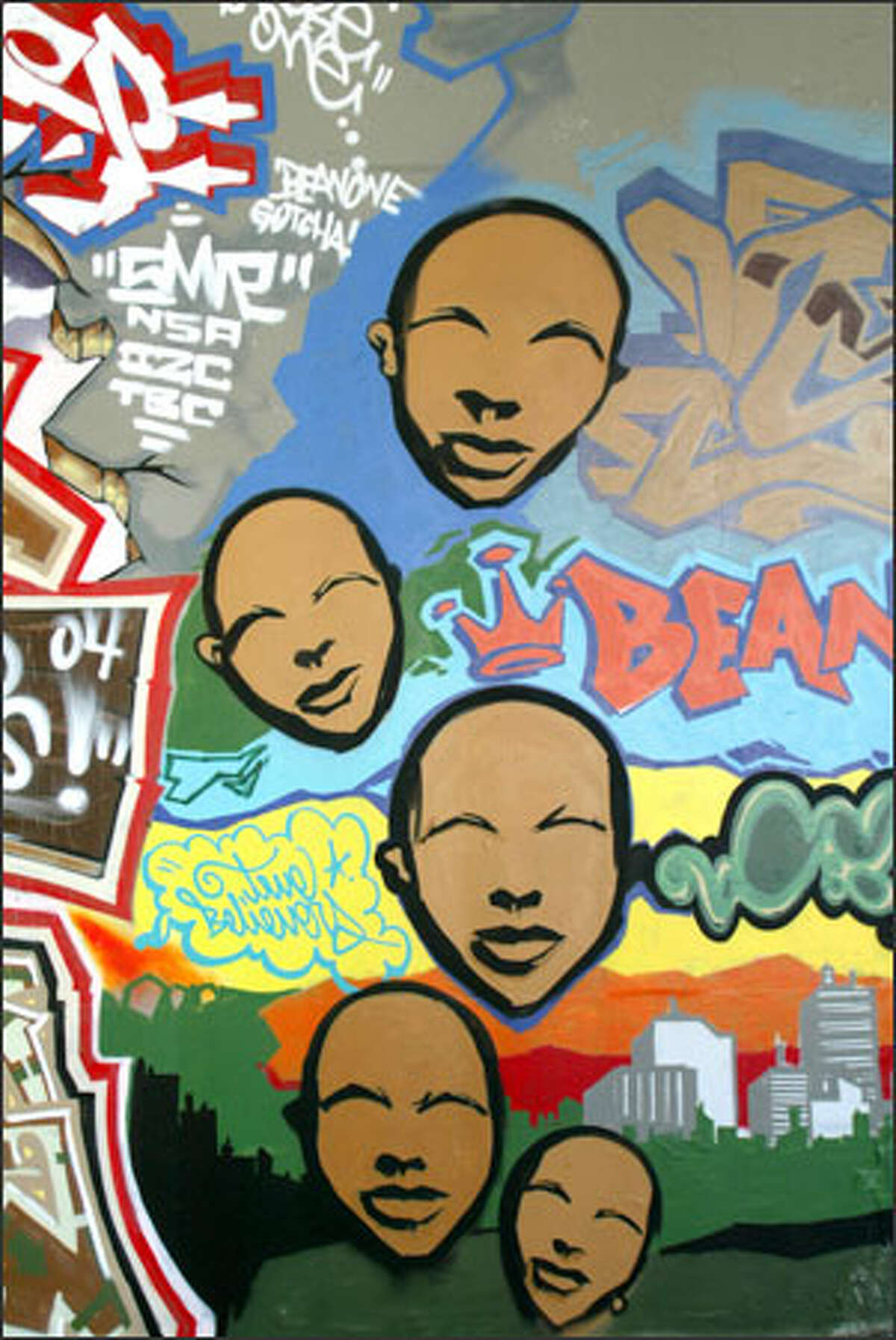 This section of the mural is part of the artwork that some city officials say is just graffiti and ought to be removed.