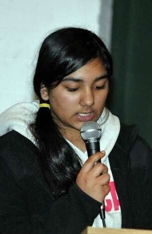 Fatima Khan, a student at Side by Side Community School speaks during the Courage to Speak Empowering Youth to be Drug Free Family Night at West Rocks Middle School in Norwalk on Tuesday, Mar. 15, 2011. Photo: Amy Mortensen / Connecticut Post Freelance