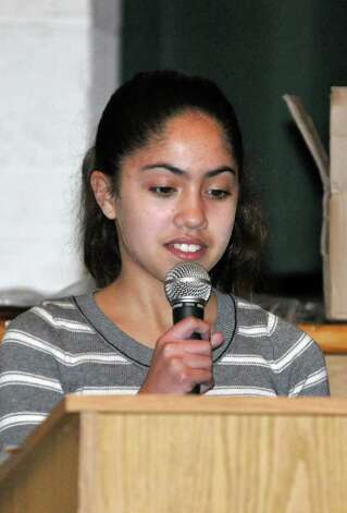 Jada Cruz, a student at West Rocks Middle School, speaks during the Courage to Speak Empowering Youth to be Drug Free Family Night at West Rocks Middle School in Norwalk on Tuesday, Mar. 15, 2011. Photo: Amy Mortensen / Connecticut Post Freelance