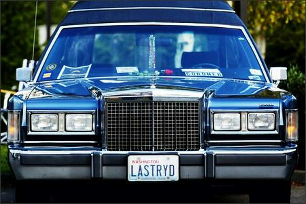 The license plate on Rick Franklin's Morticia is in keeping with the funeral theme.