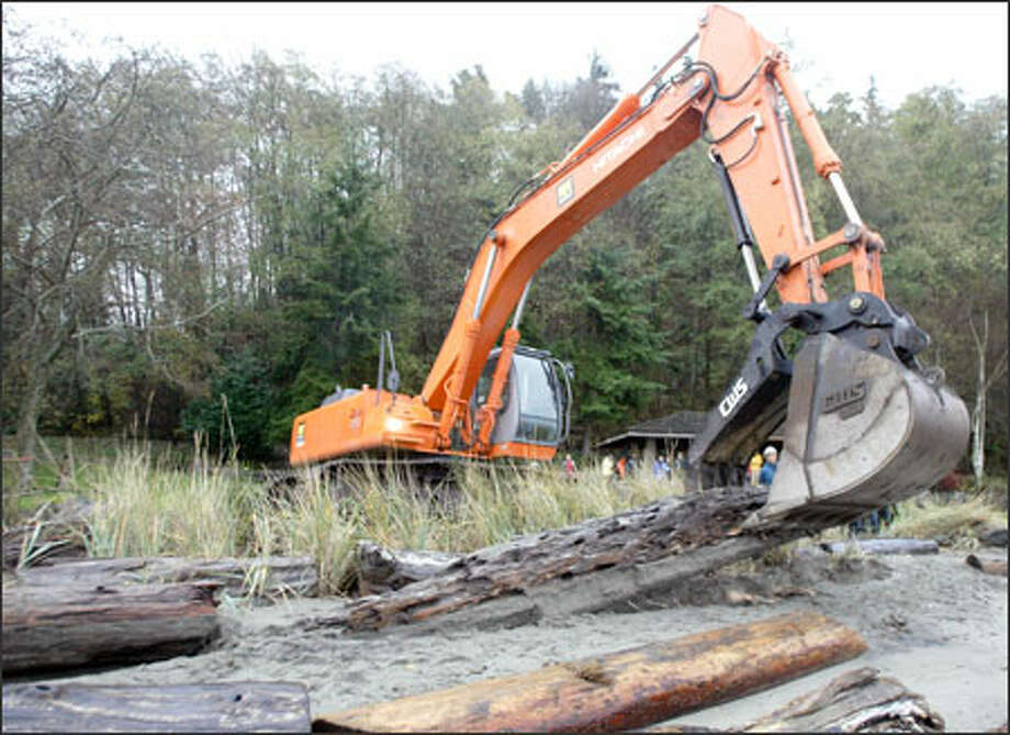 Tom Myler uses an excavator to remove driftwood along Seahurst Park's south sea wall as work begins on the park's shoreline restoration project. When completed, the section of the beach will be part of a two-thirds of a mile stretch of natural, unwalled beach habitat on Puget Sound. Photo: Jim Bryant/Seattle Post-Intelligencer