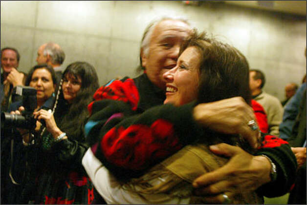 Billy Frank Jr. hugs Cynthia Iyall after the verdict was read. Iyall is an indirect descendent of the chief. Frank is a member of the Nisqually Tribe. Photo: Karen Ducey/Seattle Post-Intelligencer