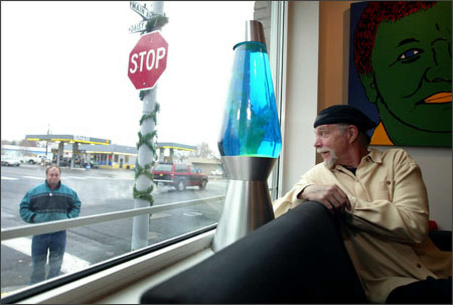 Two years ago, Brent Blake looked out the window of his art gallery on Main Street in Soap Lake and had a vision: a huge lava lamp -- placed in the middle of the street -- to help bring back tourists. Photo: Joshua Trujillo/Seattle Post-Intelligencer / Seattle Post-Intelligencer