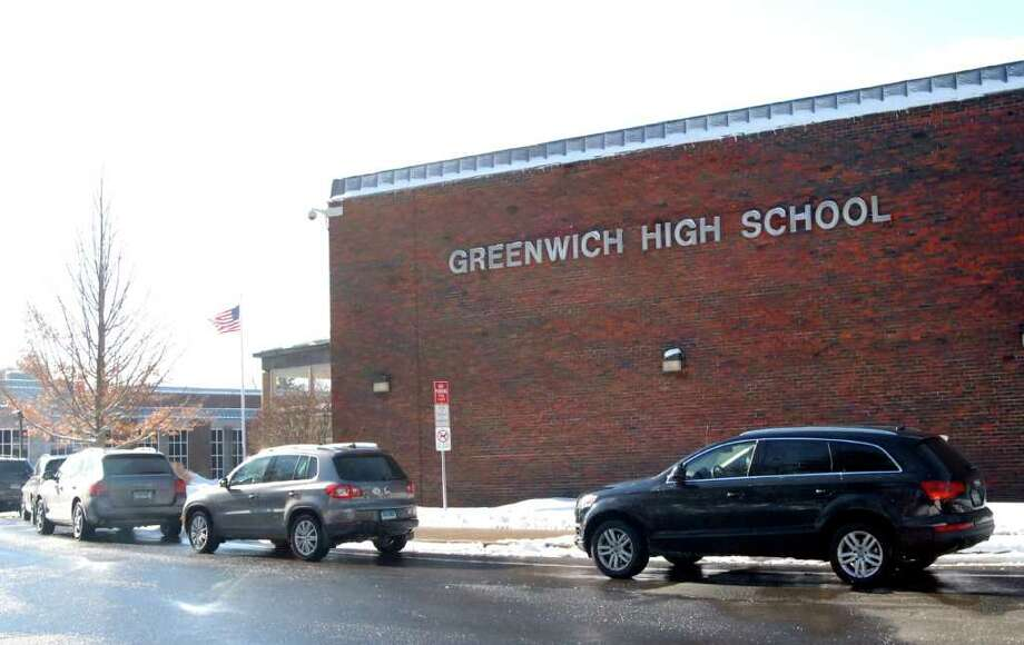 Exterior of Greenwich High School, Friday afternoon, Jan. 21, 2011. Photo: Bob Luckey / Greenwich Time