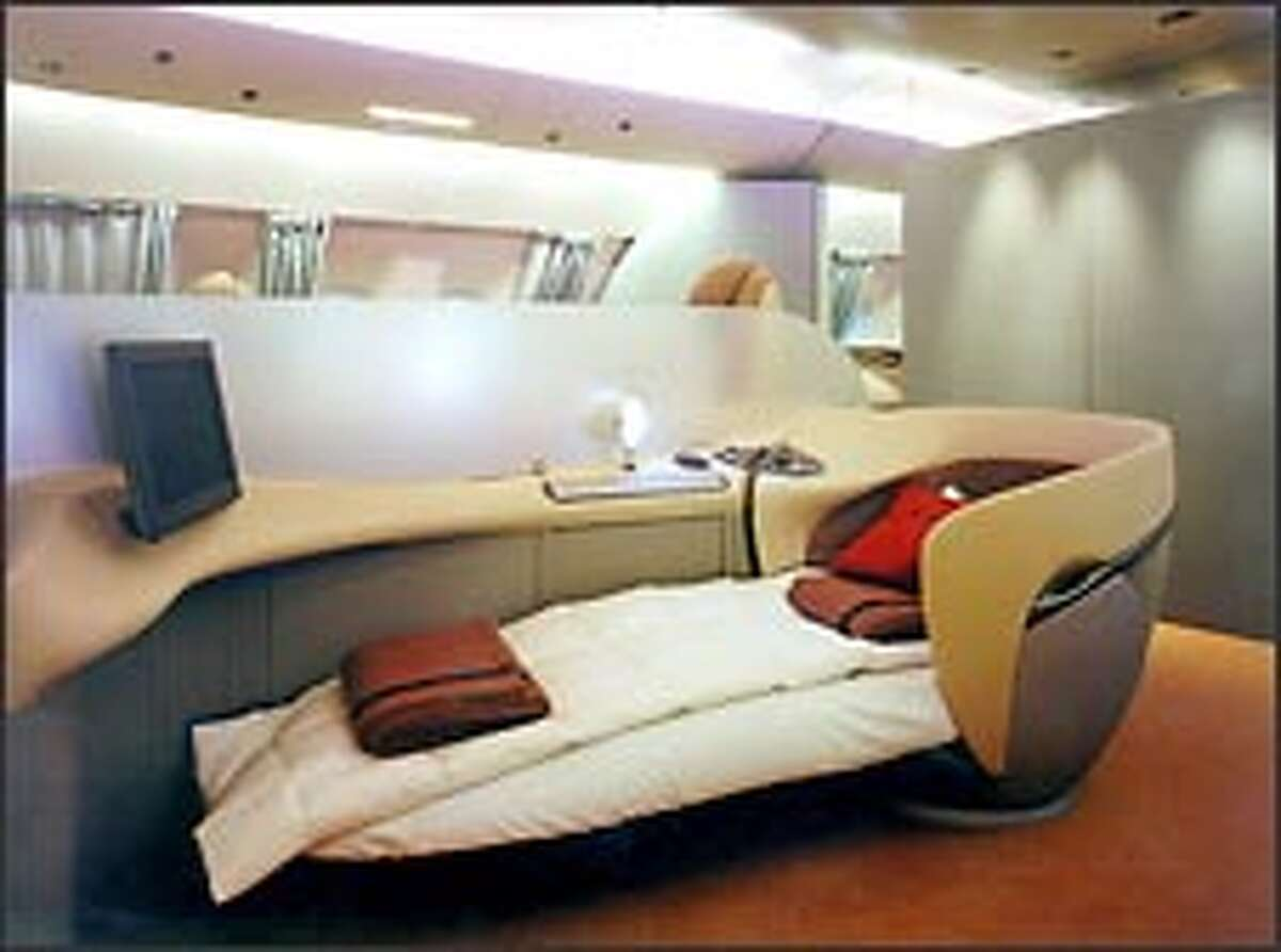 Airlines flying the A380 are likely to offer luxury features in first class. This is an Airbus concept of first-class seating.