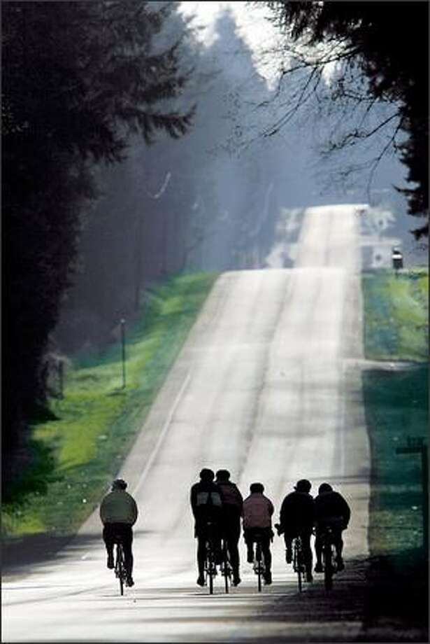 "Members of the Skagit Bicycle Club head for a climb during a recent ""Breakfast Ride"" along a country road. Photo: KAREN DUCEY/P-I"