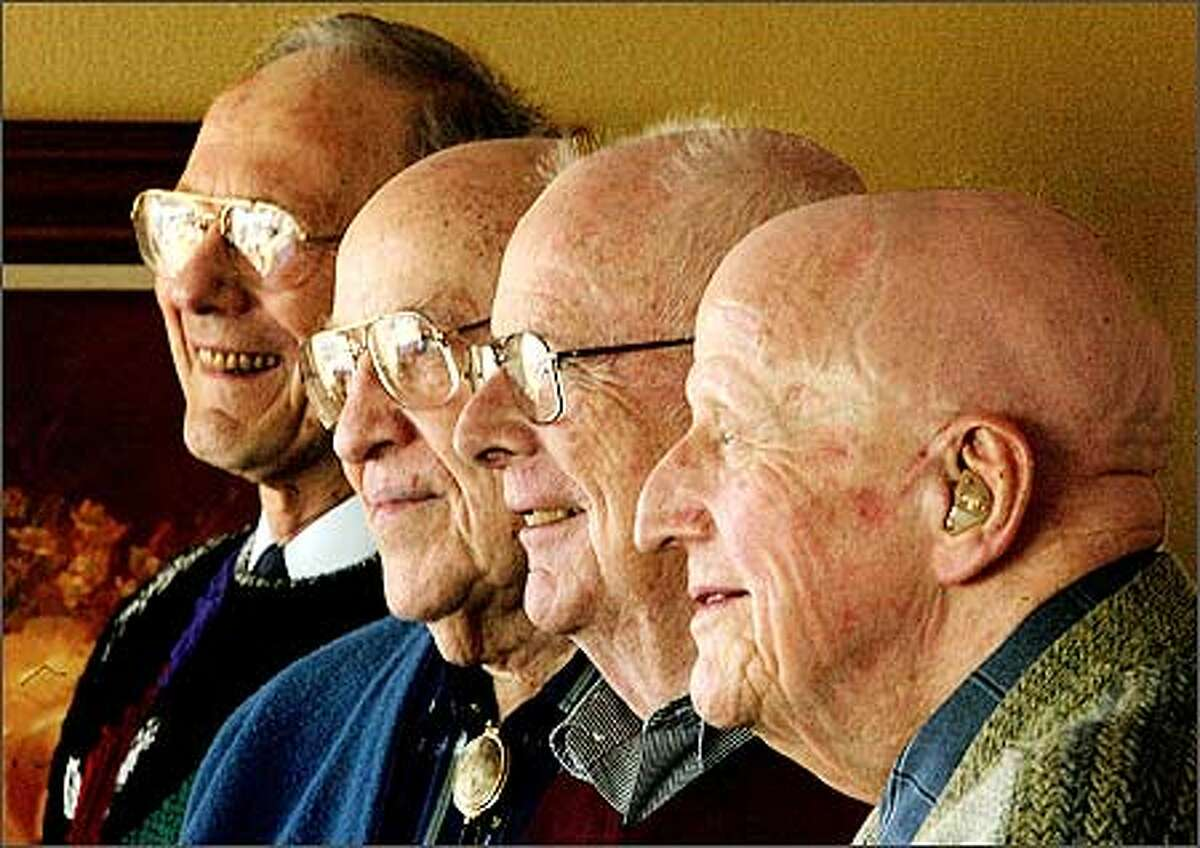 From back to front, Bert Rutan, 81; Dave Thomas, 86; Al McNicoll, 79; and Kirby Walker, 86, all fought at Iwo Jima 60 years ago this month.