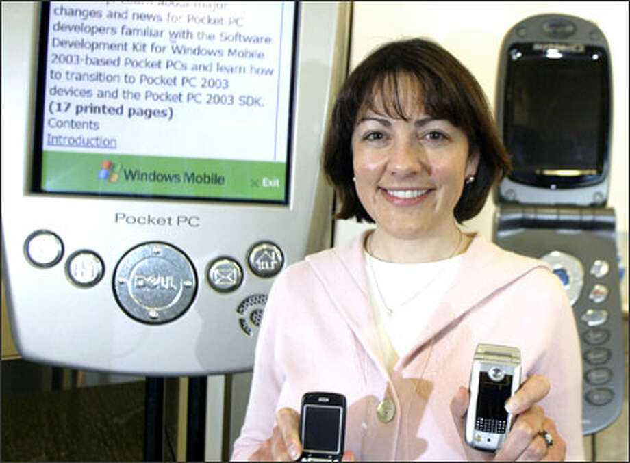 Suzan DelBene is responsible for trying to increase the market share of Microsoft software in mobile phones, pocket PCs and other devices. Photo: Jim Bryant/Seattle Post-Intelligencer