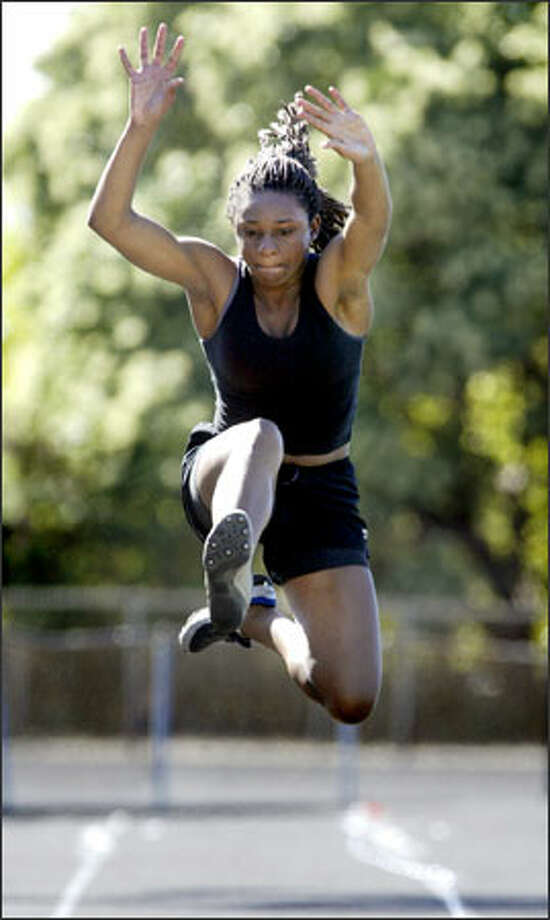 Highline junior Nkeiru Ugwoaba won the state class 3A triple jump last year and is one of the favorites this year. Photo: Dan DeLong/Seattle Post-Intelligencer