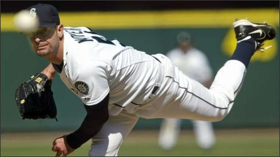 Jamie Moyer is 4-0 and has yet to give up more than three runs in his five starts. He's walked only seven batters this season, and none in eight innings of yesterday's 9-1 victory over the Indians. Photo: Grant M. Haller/Seattle Post-Intelligencer