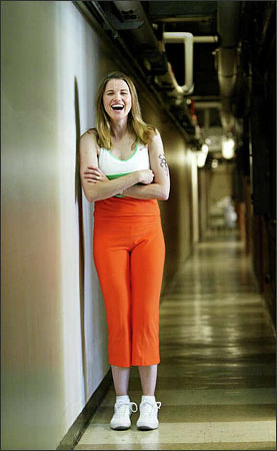 "Lucy Lawless (aka Xena) takes a break during rehearsals for ""Gentlemen Prefer Blondes."" Photo: Scott Eklund/Seattle Post-Intelligencer"
