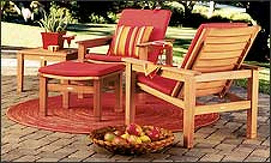 These hardwood pieces from Crate & Barrel are softened with weather-wise cushions and fabrics. Hardwood furniture needs to be treated with oil at least once a year, and indoor storage is advised.