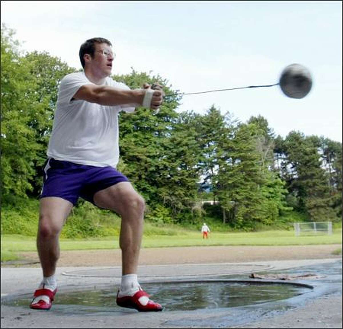 UW hammer thrower Martin Bingisser, on schedule to graduate with two years of eligibility remaining, works out in preparation for the NCAA West Regional.