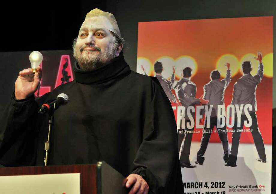 In costume as Uncle Fester of the Addams Family, Proctors CEO Philip Morris announces the 2011-12 Broadway series of shows at Proctors in Schenectady Thursday March 17, 2011.   (John Carl D'Annibale / Times Union) Photo: John Carl D'Annibale / 00012392A
