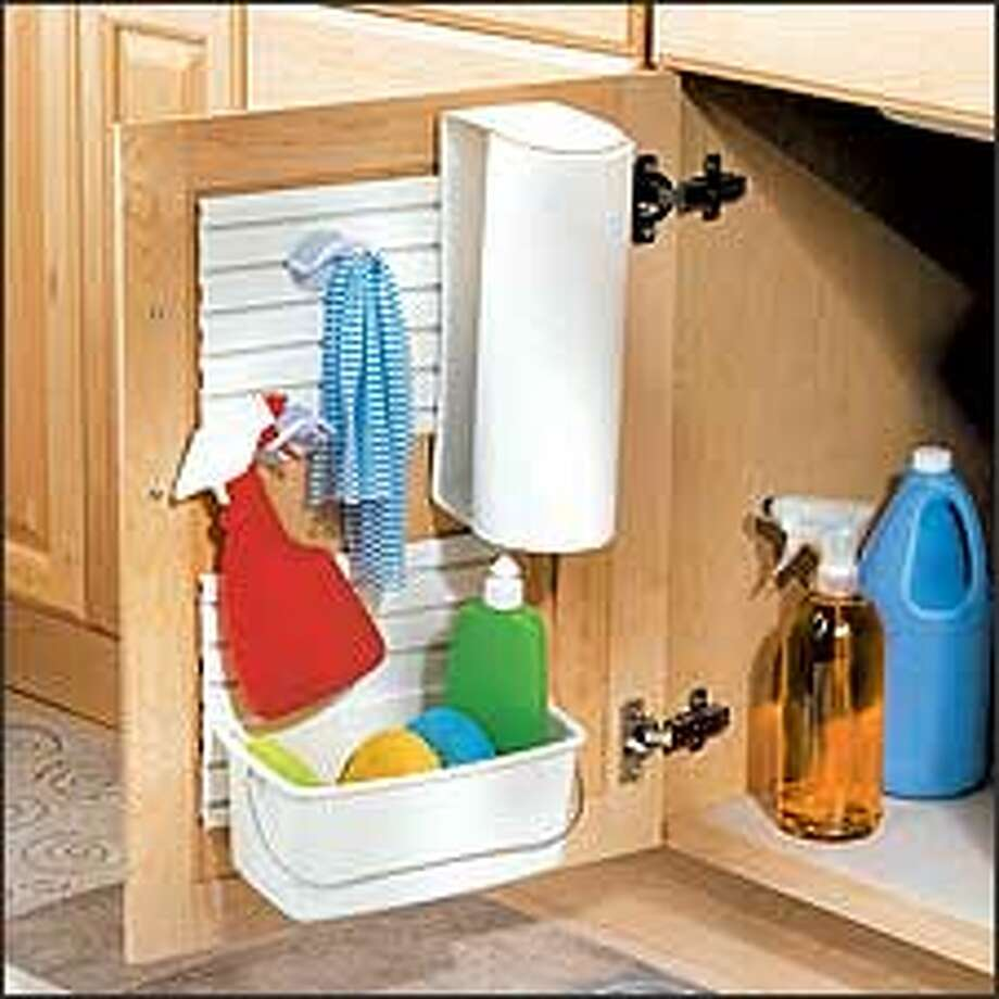 Reduce kitchen clutter with Duck's Your Space Versatile Organizer. Photo: HENKEL CONSUMER ADHESIVES INC.