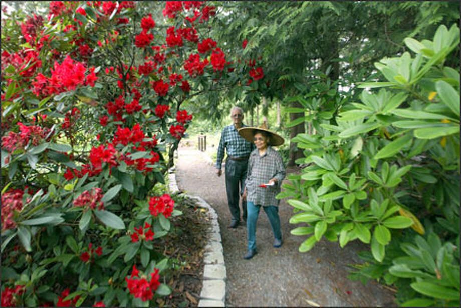 "Lourdes and Helmut Brodka, owners of Soos Creek Gardens in Kent, say they will be ""taking it easy after 25 years"" in business. Tomorrow, their nursery will close. They are hoping to find a buyer who will continue to run the nursery or retain the gardens for a retirement home. Photo: Karen Ducey/Seattle Post-Intelligencer"