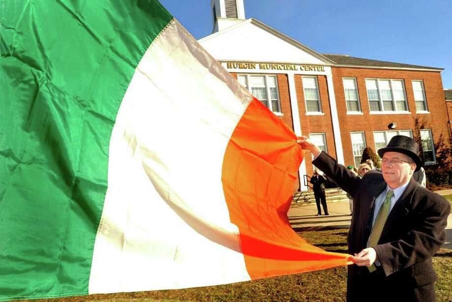Bethel kicks off St. Patrick's Day with a flag raising at 9 a.m. Monday, March 17, at Town Hall, to be followed by coffee and refreshments. Photo: Michael Duffy / The News-Times