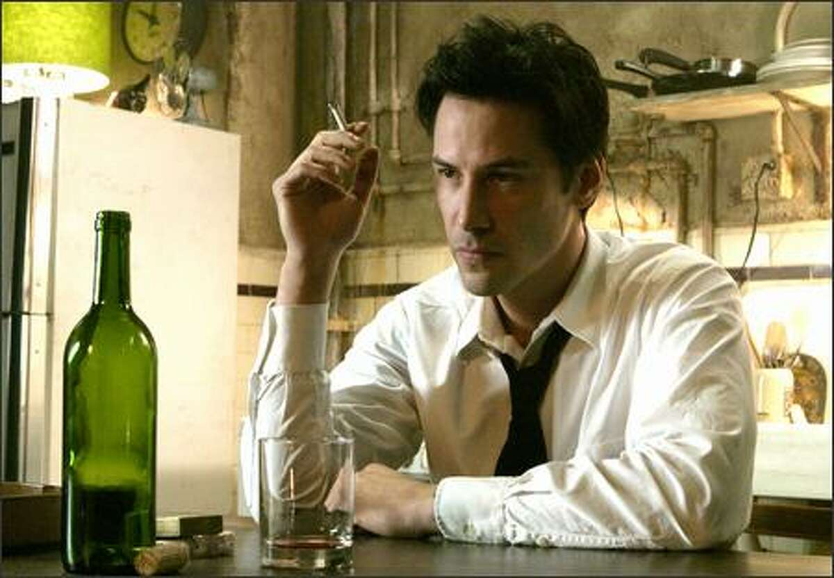Keanu Reeves as the very antiheroic John Constantine -- an embittered, hard-living con man and magician who saves others while knowing salvation is closed to him -- in